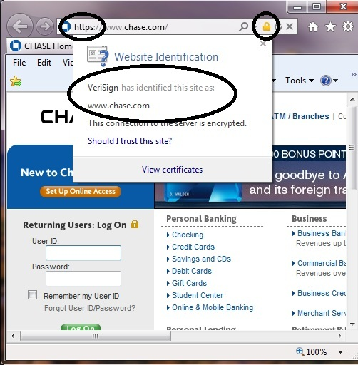 Chase.com verified in Internet Explorer
